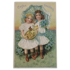 German Tuck's Easter Postcard Little Girls in White Dresses with Paprasol Basket of Chicks Raphael Tuck & Sons Tucks Embossed Edwardian Era