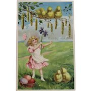 German Tuck's Easter Postcard Little Girl in Pink Dress with Chicks Raphael Tuck & Sons Tucks Embossed