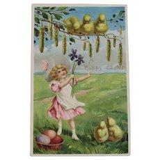 German Tuck's Easter Postcard Little Girl in Pink Dress with Chicks Raphael Tuck & Sons Tucks Embossed
