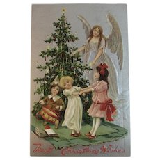 Tuck's Angel and Christmas Tree with Children Embossed German Postcard Raphael Tuck & Sons Tucks