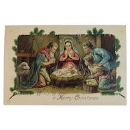 1909 EAS German Nativity Christmas Postcard Embossed