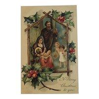 1909 PFB German Nativity Christmas Postcard Embossed