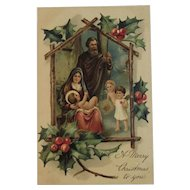 1909 PFB German Nativity Christmas Postcard Embossed