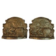 Ye Olde Coaching Days Stagecoach Bookends Cast Iron Book Ends Vintage Metalware