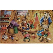 Racey Helps Dressed Rabbits Postcard A Visit to the Cobbler Unused Medici Society Frog and Mice