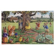 Racey Helps Dressed Rabbits Postcard the Swing Unused Medici Society Squirrel Mice and Birds