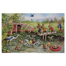 Racey Helps Dressed Rabbits Postcard The Diving Board Unused Medici Society Bunnies Swimming with a Frog and Pelican