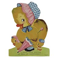 1950s Flocked Easter Stand Up Card with Chicks and a Pink Parasol by A-Meri-Card A Meri Card