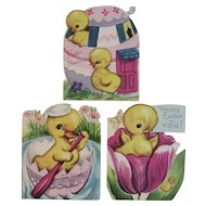 3 Whitman 1950s Easter Cards with Chicks Die Cut Vintage Decorations
