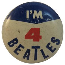 1964 I'm 4 Beatles Pinback Pin by Green Duck and Seltaeb