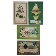 4 St. Patrick's Day Postcards 1 Clapsaddle Horse and Wagon Shamrocks Irish Music Song Lyrics Some Embossed and German