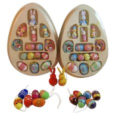 Miniature Wood Easter Ornaments Collection Hand Painted 44 Total Vintage Eggs Bunny Rabbits Birds