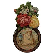 Large Victorian Die Cut Girl with Lute Flowers Advertising Sign Litho Diecut from Sichel & Meyer of Philadelphia Millinery Donaldson Brothers Lithograph