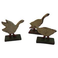 3 Miniature Wood Geese Putz Figures Original Paint