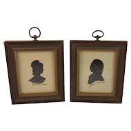 Dolly and James Madison Silhouette Framed Vintage Prints Pair