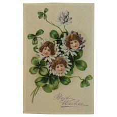 German Embossed Postcard Children Flowers and Shamrocks Four Leaf Clovers