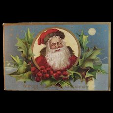 Antique Embossed Santa Claus Postcard Christmas Holly