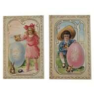 2 E. Nash Easter Postcards Children with Eggs Chicks and Bunny Antique Embossed