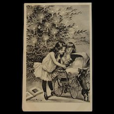 Artist Signed Christmas Postcard Girls with Doll Puppy Dog Baby Carriage and Candlelit Tree