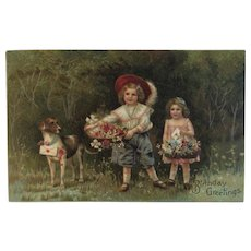 German Birthday Postcard Dog and Children with Baskets of Flowers Embossed Germany Chromolithograph