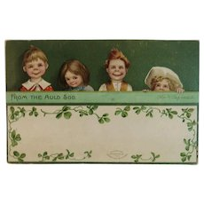 Clapsaddle Signed IAP St Patrick's Day Embossed Postcard German Germany Irish Children From the Auld Sod