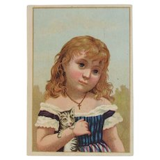 Acme Coffee Victorian Trade Card Girl with Kitty Cat Chromo Chromolithograph