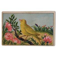 Victorian Trade Card Cassel's Tine Ware Emporium Leidytown Bucks County Pennsylvania Chromolithograph Songbird Bird