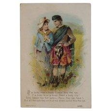 1890 Dr. Jayne & Son Comin' Thro' the Rye Victorian Trade Album Card Scottish Couple Quackery Cure All Medicine Sanative Pills Jayne