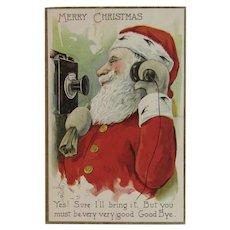 1911 Santa on Wall Phone Postcard Embossed Christmas