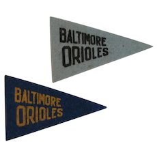 2 Vintage MLB Mini Felt Pennants American Nut & Chocolate Co Premiums Baltimore Orioles Baseball Team