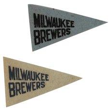2 Vintage MLB Mini Felt Pennants American Nut & Chocolate Co Premiums Milwaukee Brewers Baseball Team