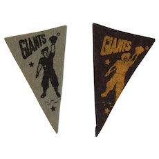 2 Vintage MLB Mini Felt Pennants American Nut & Chocolate Co Premiums Giants Baseball Team