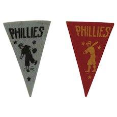 2 1950s MLB Mini Felt Pennants American Nut & Chocolate Co Premiums Philadelphia Phillies Baseball Team