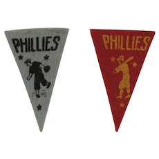 2 Vintage MLB Mini Felt Pennants American Nut & Chocolate Co Premiums Philadelphia Phillies Baseball Team