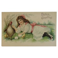 ASB German Embossed Easter Postcard Girl with Hen Chicks & Eggs