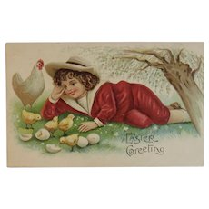 ASB German Embossed Easter Postcard Boy with Hen Chicks & Eggs