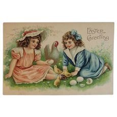 ASB German Embossed Easter Postcard Girls with Hen Chicks & Eggs