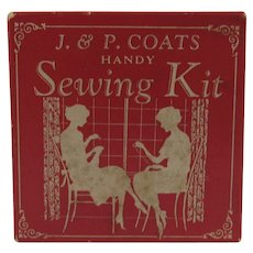 J & P Coats Handy Sewing Kit Original Box Complete Set Thread Needles and Thimble
