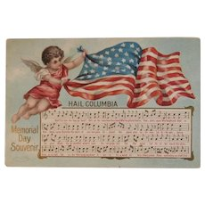 1908 Taggart Hail Columbia Memorial Day Souvenir Postcard Embossed Music Lyrics Cherub American Flag