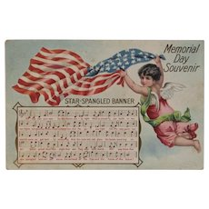1908 Taggart Star Spangled Banner Memorial Day Souvenir Postcard Embossed Music Lyrics Cherub American Flag