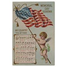 1908 Taggart My Country Tis of Thee Memorial Day Souvenir Postcard Embossed Music Lyrics Cherub American Flag