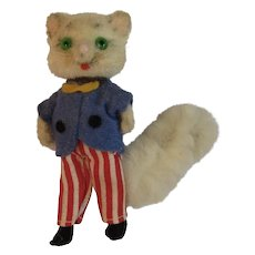 West German Kunstlerschutz Flocked Miniature Kitty Cat in Red White and Blue