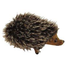 West German Kunstlerschutz Flocked Miniature Hedgehog