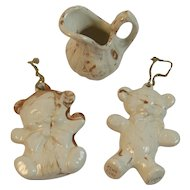 Knoxville World's Fair Tennessee Clay Collection Teddy Bear Christmas Ornaments and Miniature Pitcher American Play Products Pottery Maxie Stephens