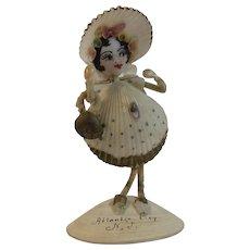 1938 Atlantic City Shell Art Lady Souvenir Folk Art New Jersey NJ