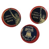 3 WWI Celluloid Liberty Bond and Loan Pinbacks War Effort Home Front Fundraising World War I 2