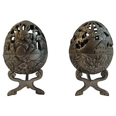 Pair Port Pewter Eggs on Stands Vintage Reticulated Designs Trinket Box