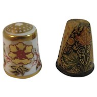 2 Thimbles Royal Crown Derby Bone China and Laquered Papier Mache