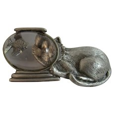 JJ Cat in the Fish Bowl Pewter Tone Pin