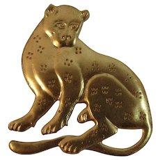 1985 MMA Leopard Cat Pin Gold Tone Metropolitan Museum of Art
